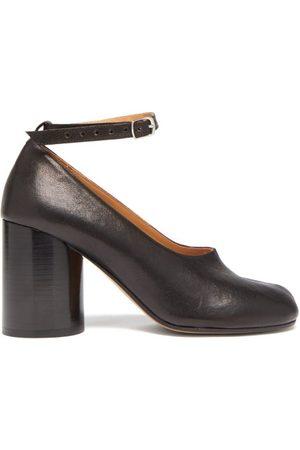 Maison Margiela Women Heeled Pumps - Tabi Split-toe Column-heel Leather Pumps - Womens