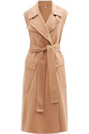 Burberry Sleeveless Belted Cashmere Trench Coat - Womens - Camel