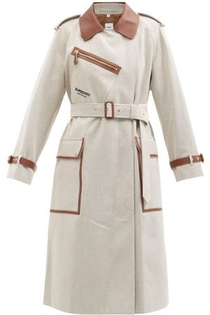 Burberry Women Trench Coats - Dockray Cotton-canvas And Leather Trench Coat - Womens - Light