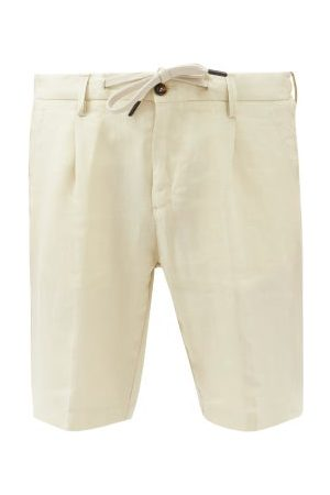 Thom Sweeney Drawstring-waist Slubbed-linen Poplin Shorts - Mens - Dark Grey