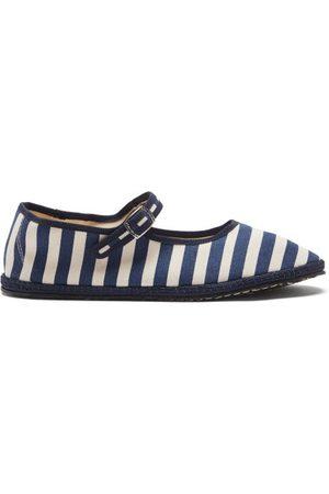 VIBI VENEZIA Women Flat Shoes - Striped Canvas Mary Jane Flats - Womens - Navy
