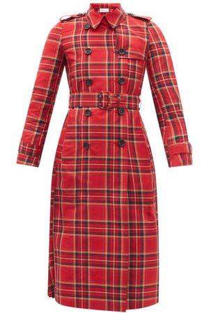 RED Valentino Women Trench Coats - Pleated Tartan Canvas Trench Coat - Womens - Print