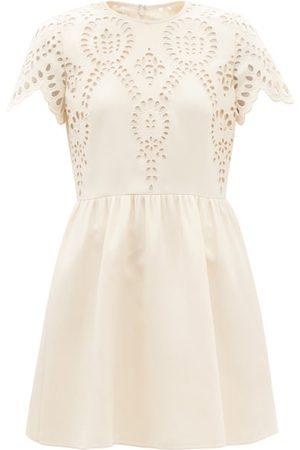 VALENTINO Sangallo-embroidered Wool-blend Crepe Minidress - Womens - Ivory