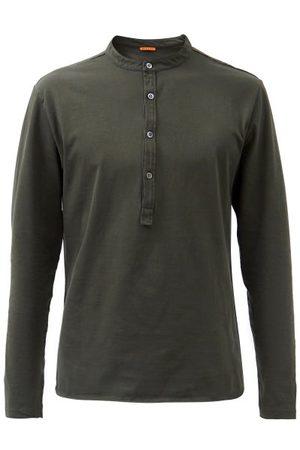 BARENA Nalin Cotton-jersey Henley Long-sleeve Shirt - Mens - Dark Khaki