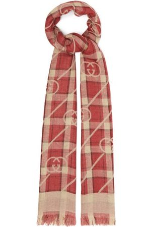 Gucci Men Scarves - GG-jacquard Plaid Wool-blend Scarf - Mens - Multi