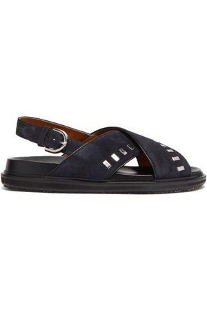 Marni Jonny Studded Leather Fussbett Sandals - Mens - Navy