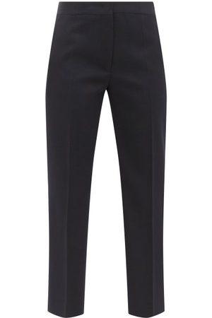 Jil Sander Tailored Cropped Wool-gabardine Trousers - Womens - Navy