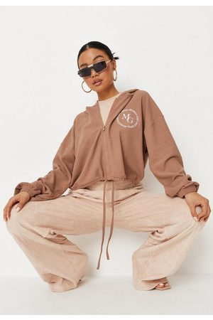 Missguided Tall Mocha Waffle Cropped Hoodie