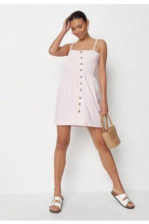 Missguided Shirred Button Through Skater Dress