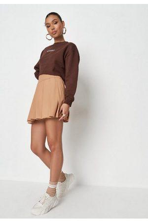 Missguided Stone Pleated Rib Mini Skirt