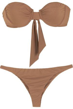 Piu Toque tied bikini set - 03 MARROM