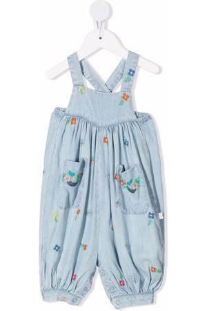Stella McCartney Floral-embroidered denim dungarees