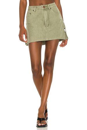 ONE TEASPOON Vanguard Mid Rise Relaxed Denim Mini Skirt in Olive.