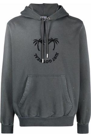 Diesel Palm-embroidered hoodie - Grey