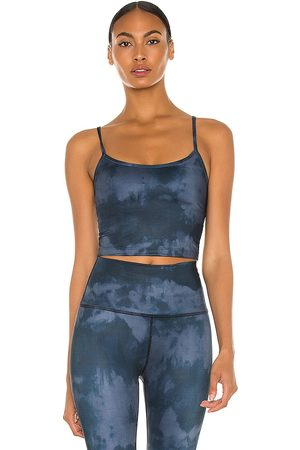 Beyond Yoga Scooped Out Cropped Tank in Navy.
