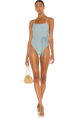 Something Navy Hibiscus Floral One Piece Bikini in .