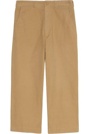 Gucci Cat-embroidered wide-leg trousers - Neutrals