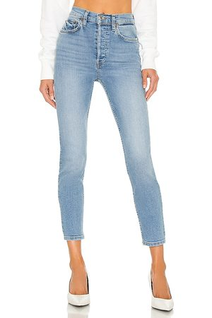 RE/DONE Originals 90s High Rise Ankle Crop in Blue.