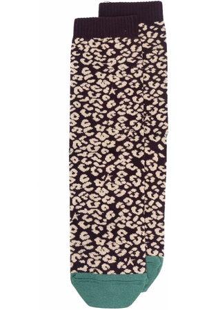 Golden Goose Leopard print star-logo knit socks