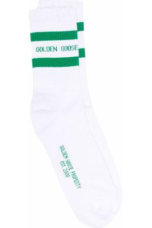 Golden Goose Logo-intarsia ribbed-knit ankle socks