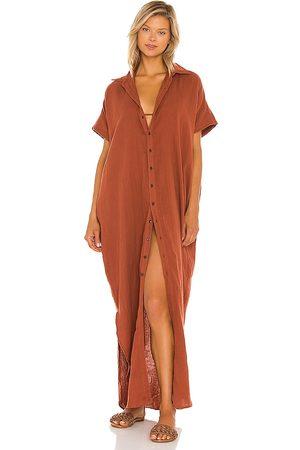 ACACIA Oahu Cotton Gauze Dress in Rust.