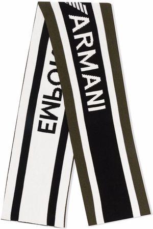 Emporio Armani Intarsia-knit logo scarf
