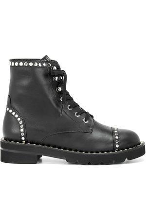 Stuart Weitzman Mila studded-trim lace-up boots