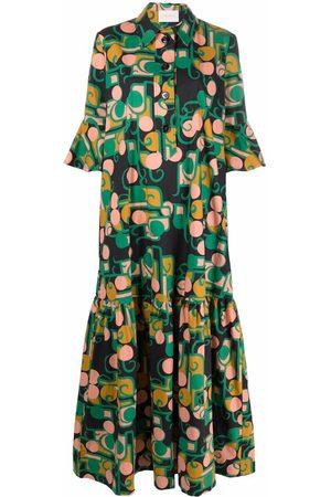 La DoubleJ Women Casual Dresses - Abstract-print maxi shirt dress
