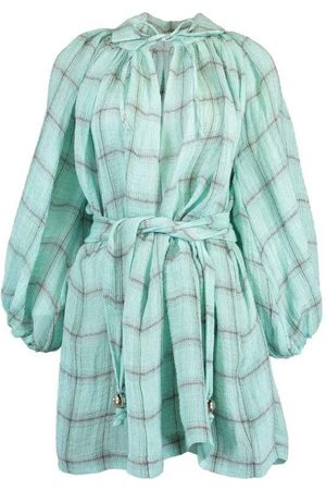 Lisa Marie Fernandez Poet Seafoam Windowpane Gauze Mini Dress