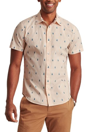 BONOBOS Men Short sleeves - Men's Rivie Slim Fit Stretch Print Short Sleeve Button-Up Shirt