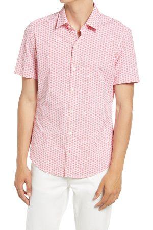 HUGO BOSS Men's Robb Floral Print Short Sleeve Stretch Button-Up Shirt