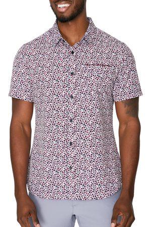 7 Diamonds Men's Brushstroke Short Sleeve Button-Up Performance Shirt