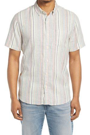 Marine Men's Multi Stripe Short Sleeve Hemp Blend Button-Up Shirt