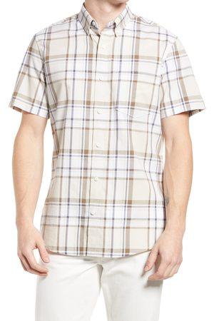 Treasure & Bond Men's Madras Plaid Short Sleeve Button-Down Shirt