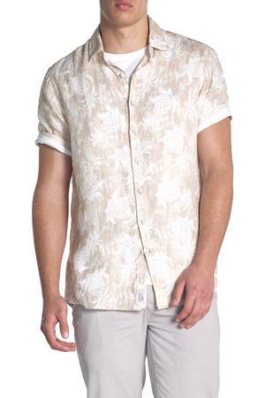 Rodd & Gunn Men's Simpson's Beach Regular Fit Print Linen Short Sleeve Button-Up Shirt