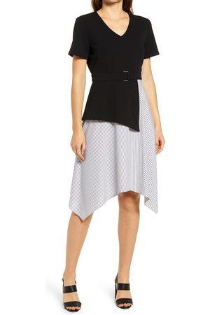 Ming Wang Women's Asymmetric Mock Two-Piece Dress