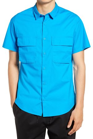 Open Edit Men's Stretch Short Sleeve Button-Up Utility Shirt