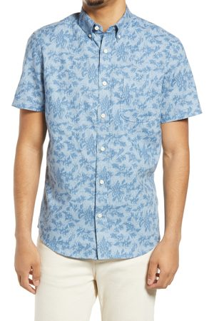 Treasure & Bond Men's Floral Short Sleeve Linen & Cotton Button-Up Shirt