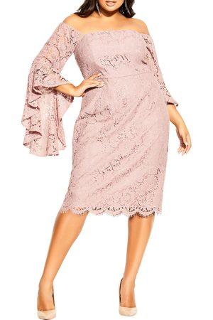 City Chic Plus Size Women's Lace Amour Off The Shoulder Dress