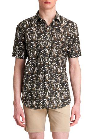 Bugatchi Men's Shaped Fit Print Short Sleeve Button-Up Shirt