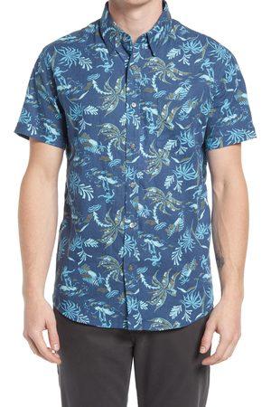 Rails Men's Carson Relaxed Fit Print Short Sleeve Linen Blend Button-Up Shirt