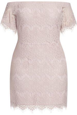 City Chic Plus Size Women's Off The Shoulder Lace Sheath Dress