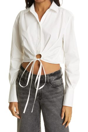 Frame Women's Wrap Tie Crop Button-Up Shirt