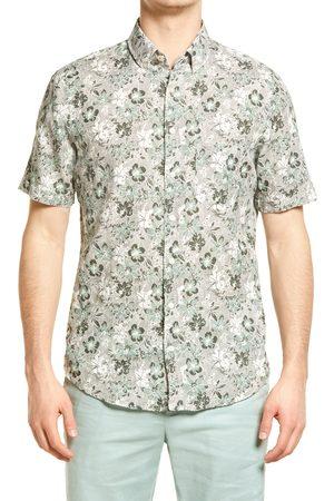 Brax Men's Dan Regular Fit Floral Print Short Sleeve Linen Button-Down Shirt