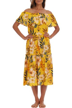 La Blanca Women's Belle Off The Shoulder Tiered Midi Dress