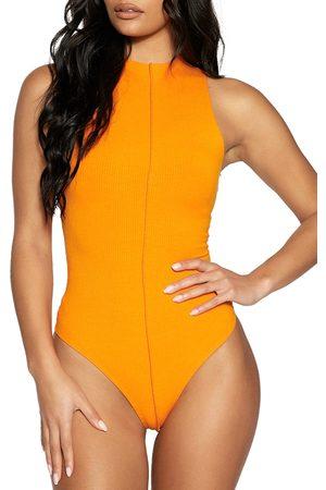Naked Wardrobe Women's Funnel Neck Rib Bodysuit