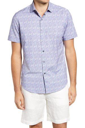 Bugatchi Men's Abstract Print Ooohcotton Short Sleeve Tech Button-Up Shirt