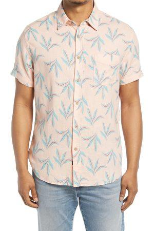 Rails Men's Miami Mirage Relaxed Fit Leaf Print Short Sleeve Linen Blend Button-Up Shirt