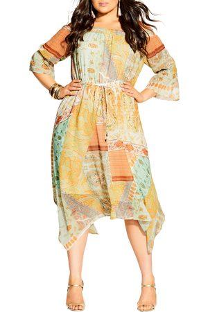 City Chic Plus Size Women's Togo Off The Shoulder Long Sleeve Midi Dress