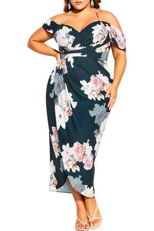 City Chic Plus Size Women's Emerald Off The Shoulder Faux Wrap Dress